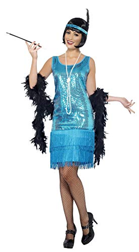 Smiffy's Smiffys Disfraz de Chica Joven Coqueta Años 20, con Vestido Azul Cerceta, Tocado Y Collar Smiffys Disfraz de Chica Joven Coqueta años 20, con Vestido Azul Cerceta, Tocado y Collar Muj