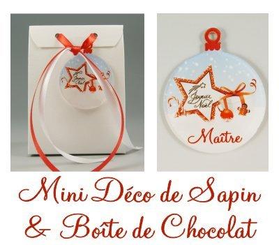 Boite de Chocolat & Déco de Sapin Joyeux Noël Maître – Cadeau de Noël
