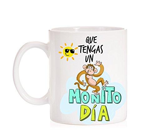MardeTé Taza Que tengas un Monito día. Taza de Regalo para felicitar los días Bonitos.