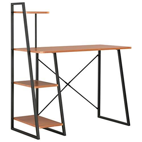 vidaXL Biurko z regałem, nogami w kształcie litery U, stolik pod komputer, stół roboczy, stolik pod komputer, stolik do laptopa, meble biurowe, kolor czarny, brązowy, 102 x 50 x 117 cm