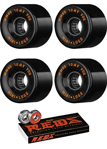 Mini Logo 59mm ATF A.W.O.L Black Skateboard Wheels - 80a with Bones Bearings - 8mm Bones Reds Precision Skate Rated Skateboard Bearings (8) Pack - Bundle of 2 Items