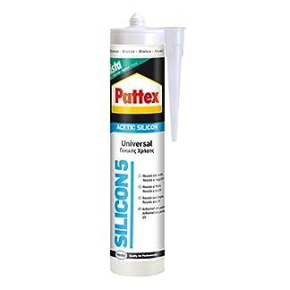 Pattex Silicon 5, silicona ácida universal ideal exteriores, blanco, 300 ml