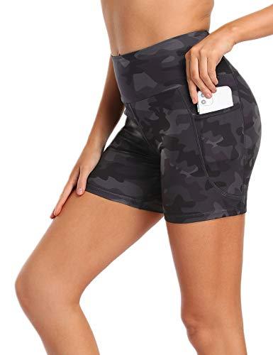 MOVE BEYOND 13cm Pantalones Cortos Deportivo para Mujer con 2 Bolsillos Laterales Cintura Alta para Yoga Correr Ejercicio, Camuflaje, XXL