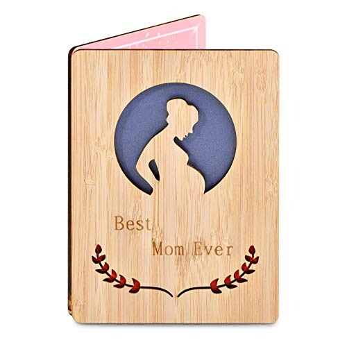 TGOOD Best Mom Ever Wooden Greeting Card Gifts,Mothers Day Cards Gifts,Thank You Mom Bamboo Card for Mother's Day,Birthday and All Occasion, Gifts for Mom from Daughter and Son