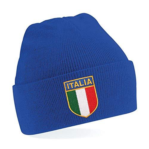 Printmeashirt Bright Royal O/S Unisex Kinder Mütze mit italienischem Rugby-Motiv, bestickt