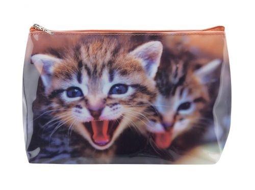 Kulturbeutel Tigapaw ®, Waschtasche, Katze, für Kinder, Damen und Herren, blau, rot (Katze)