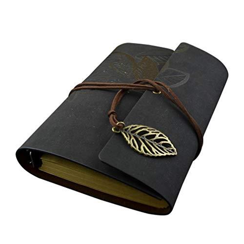NUOBESTY Cuaderno de Cuero para Escribir Cuaderno de Viajero Recargable Cuaderno de Bocetos de Arte sin Forro Regalos de Viaje para Estudiantes de Graduación ()
