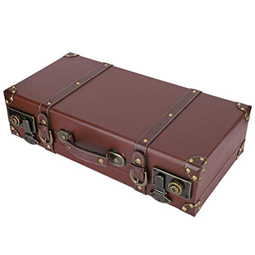 CUEA Storage Box, Brown Old‑style Retro Hand Suitcase, Durable 44.5CM × 23CM × 11.7CM for Ornament Storage