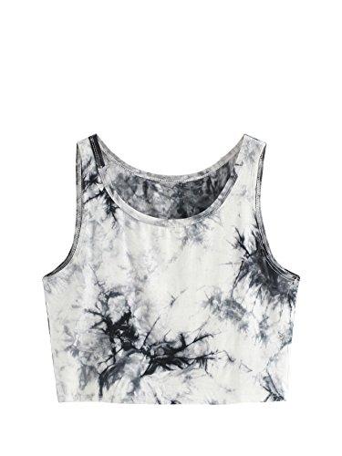 SweatyRocks Women's Summer Sleeveless Letter Print Casual Crop Tank Top Shirts (Medium, Multicoloured)