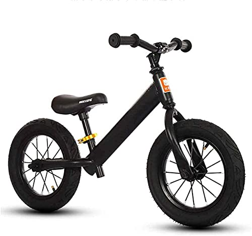 YQCH Niños niños Balance Bicicleta, Ligero Alto Carbono Acero Marco niños niñas Corriendo Caminando Entrenamiento Bicicleta Amortiguador absorción, (Color : Black)