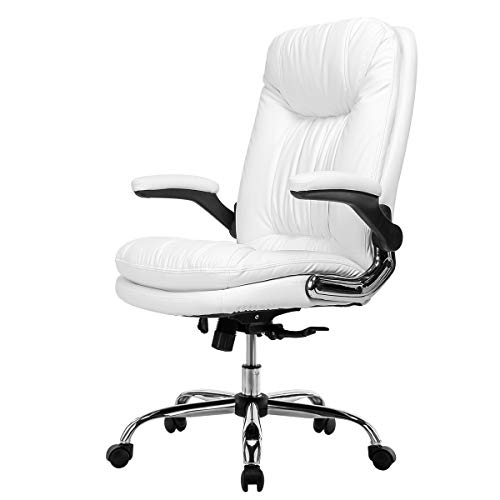 YAMASORO Ergonomic Executive Office Chair with Flip-up Arms and Back Support, High-Back Leather Office Chair for Home and Bedroom (White) …