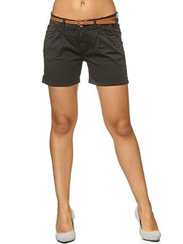 Indicode Femme Damen Lily Shorts mit 4 Taschen aus 98% Baumwolle   Kurze Stretch Hose Regular Fit Sommer-Shorts modische Baumwoll-Shorts Women Short Pants Freizeithose für Frauen Dk Grey L
