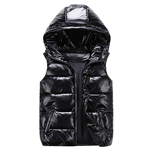 Chalecos de invierno con capucha corto color brillante chaleco de algodón acolchado chaqueta sin mangas mujer chaleco chaleco de invierno chaleco