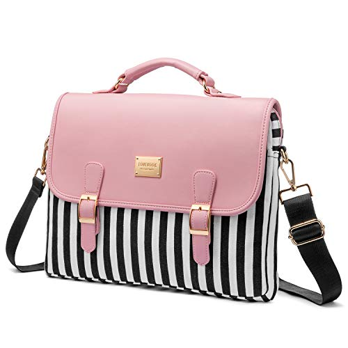 Computer Bag Laptop Bag for Women Cute Laptop Sleeve Case for Work College, Stripe-Pink, 14-Inch