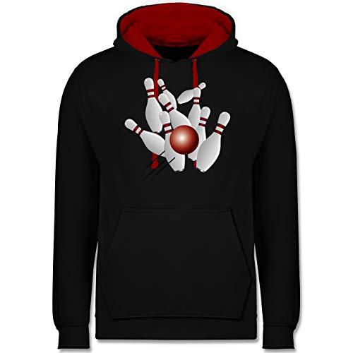 Shirtracer Bowling & Kegeln - Kegeln alle 9 Kegeln Kugel - M - Schwarz/Rot - Kegeln - JH003 - Hoodie zweifarbig und Kapuzenpullover für Herren und Damen