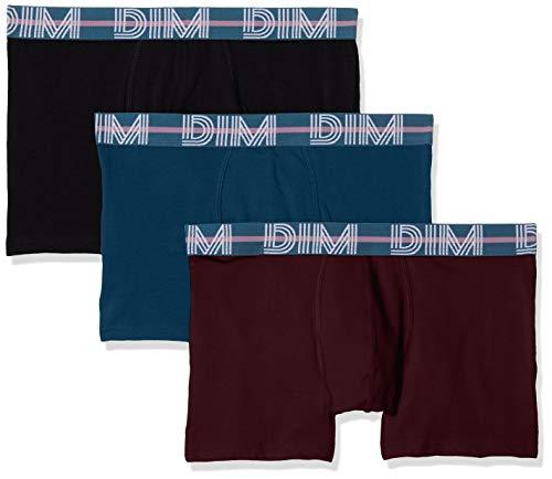 Dim Herren Powerful Boxer X3 Boxershorts, Mehrfarbig (Bleu Klein/Aubergine Foncé/Noir 87h), Large (Herstellergröße: 4) (3er Pack)