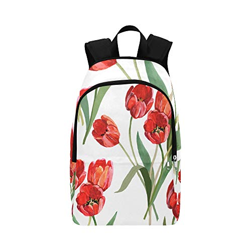 NANA Best Hiking Bag Red Romantic Beautiful Floral Tulip Durable Water Resistant Classic Girl Backpack Water Hike Bag Bag Kids School Cute Sports Bag