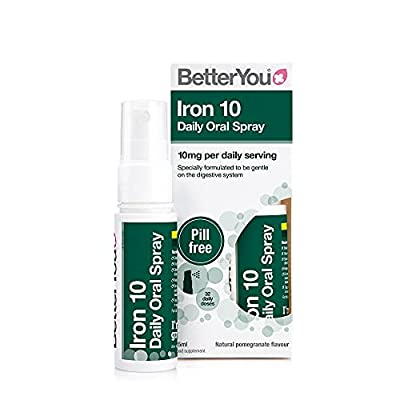 BetterYou Iron 10 Daily Oral Spray | Iron Supplement and Immune System Support | Delivers 10mg of Highly Absorbable Iron Per Dose | 25ml | 32 Daily Doses | Natural Pomegrante Flavour