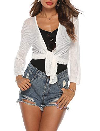 SIRUITON Damen Sexy Bluse Casual Mesh Cardigan Fasching Karneval Strand Partytop Leichte Sommertop Lange Ärmel Shirt, Weiß, S