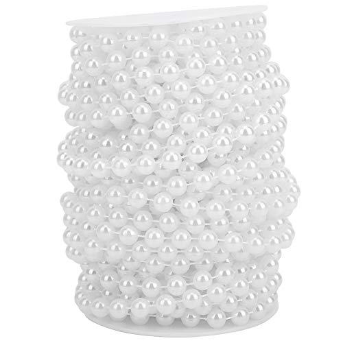 10mm Perle Perle Chaîne Faux Perle Chaîne 20 m ABS Faux Perle Perle Vêtements Accessoires pour DIY Portes Décoration(blanc)