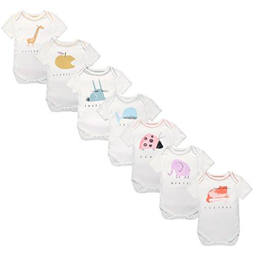 Bebé Niños Niñas Body Manga Corta 100% Algodón Onsies Jumpsuit Romper 7 piezas por 3-6 Meses