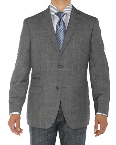 Luciano Natazzi Men's 2 Button Modern Fit Suit Jacket Ticket Pocket Blazer Coat (46 Regular US / 56R EU, DK Gray)