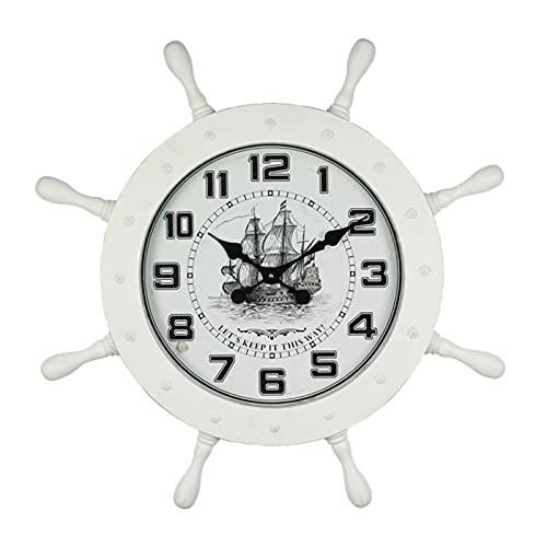LINGJIE Reloj De Pared con Timón De Barco De Estilo Europeo 2021, Reloj Nórdico Creativo para El Hogar, Reloj De Pared Atmosférico Moderno Y Simple,Blanco