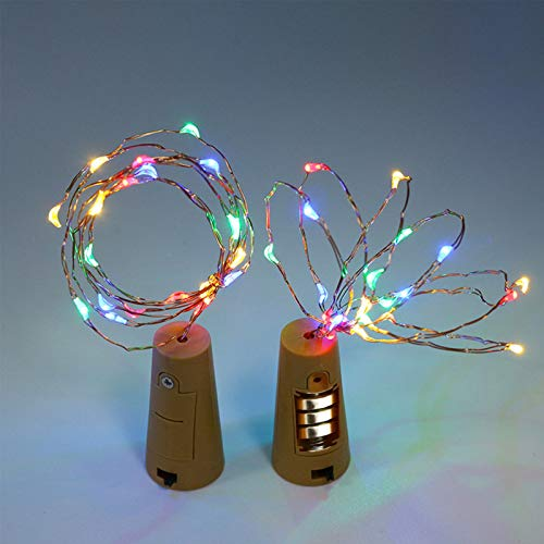 Luces para Botellas Marvelights Botella de Vino de Corcho Luz de Cadena Paquete de 8M 2M 20 Leds Cable de Cobre con Batería Mini Luz de Color Múltiple Cálida para Bricolaje