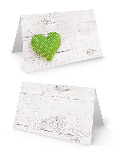 Logbuch-Verlag 25 piccoli segnaposto in effetto legno con cuore verde (stampato), segnaposto per matrimonio, compleanno, festa aziendale, ristorante, hotel
