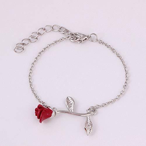 N/A HJPAM Elegant Verstelbare Rode Rose Bloem Armband Voor Vrouwen Bedel Ketting & Link Armbanden Bruiloft Sieraden Gift Bedel Armbanden