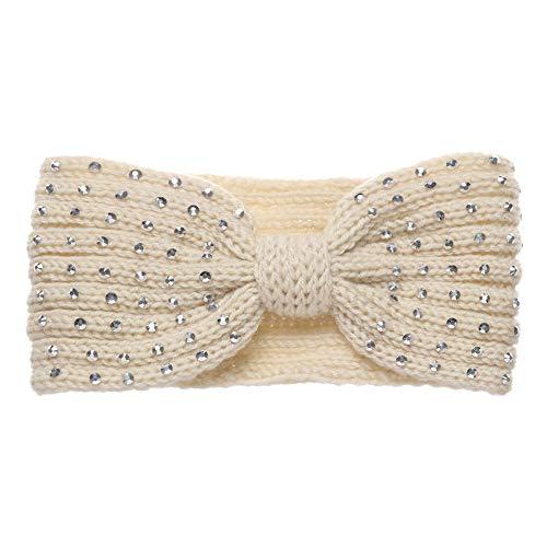 Damen-Haarband, glänzend, Strass, gestrickt, dick, warm, breit, weich, elastisch, Ohrenwärmer (beige)