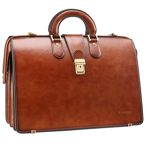 Banuce Vintage Leather Briefcase for Men with Lock Doctor Bag Attache Case Hard 15.6 Inch Laptop Business Bags Lawyer Attorney Bag Brown