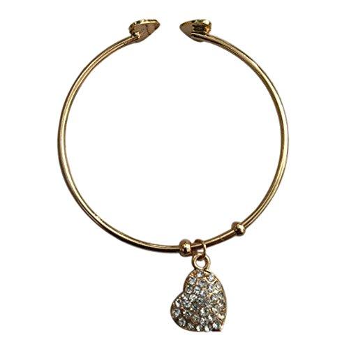 hacoly pulsera de oro corazón diamante cumpleaños San Valentín boda parte joyería para mujer chica