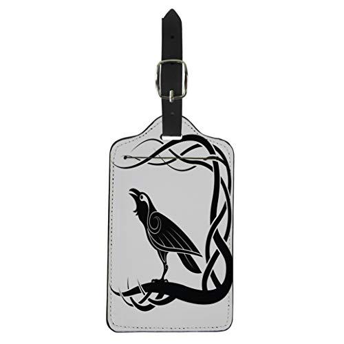 Pinbeam Luggage Tag Pagan Raven Crow Mythology Animals Bird Black Suitcase Baggage Label