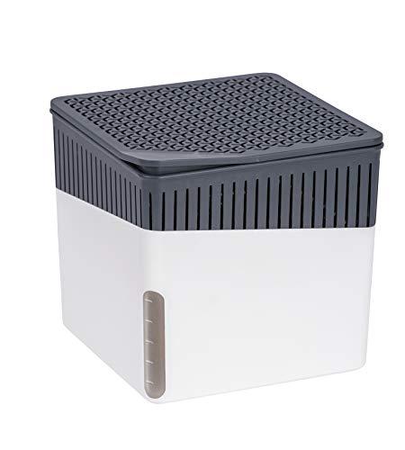 WENKO Raumentfeuchter Cube, Luftentfeuchter reduziert Schimmel und Gerüche, Auffangschale mit 1 kg Granulatblock nachfüllbar, fasst bis zu 1,6 l Feuchtigkeit, Maße (BHT): 16,5x15,7x16,5 cm, weiß