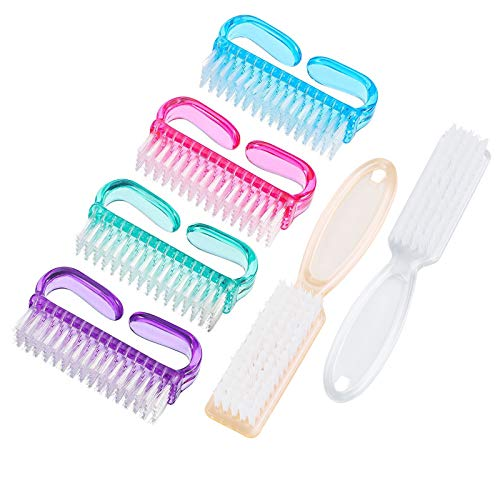 Handle Grip Nail Brush, Hand Fingernail Scrub Cleaning Brushes for Toes and Nails Cleaner, Pedicure Scrubbing tool kit for Men and Women 6 Pack (Multicolor)