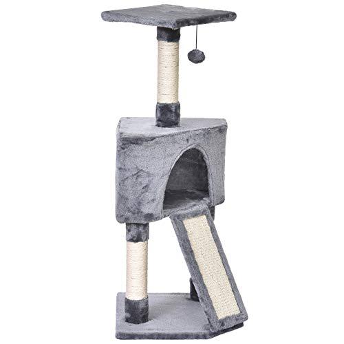 Pawhut Tiragraffi ad Albero per Gatti Fino 5 kg, Rivestimento Corda Sisal e Peluche, con Cuccia, Grigio, 40x40x98cm