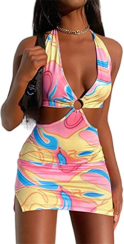 Womens Sexy Halter Tie Dye Two Pieces Sets ,Y2K Fashion Outfits Sleeveless Tops and Short Skirt (Multicolor pink, Small)