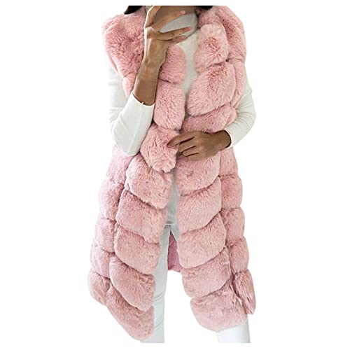 Women Winter Sleeveless Plush Jacket Vest,Faux Fur Mid-Length Warm Elegant Vest Casual Trendy Solid Color Coat Outwear
