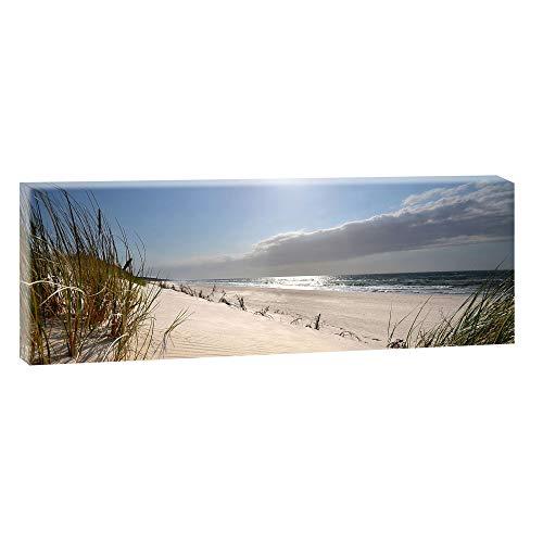 Bild auf Leinwand mit Landschaftsmotiv Stranddünen auf der Insel | 150 x 50 cm, Farbig, Wandbild, Leinwandbild mit Kunstdruck, Nordseebild mit Strandmotiv auf Holzrahmen gespannt, 50x150 cm