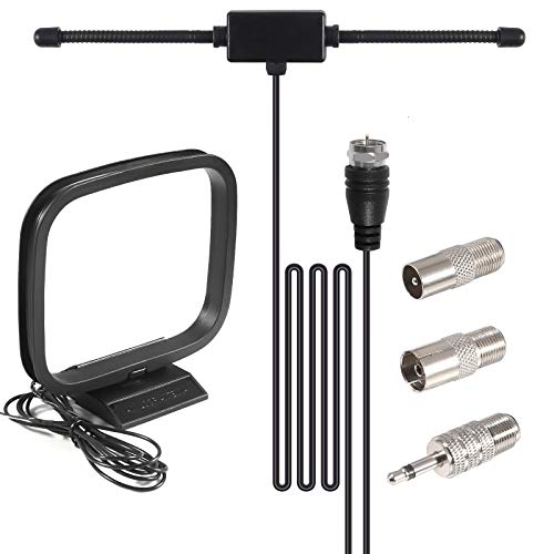 VHF UHF Car Truck Scanner Antenna Adhesive Mount Dipole Antenna with BNC Male Connector & AM Loop Antenna Compatible with Uniden Bearcat Whistler Shack Vehicle Ham Radio Mobile Scanner