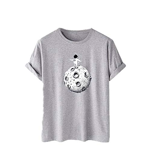 Affordable HoneyGod Cotton Round Neck T Shirts for Couple Astronaut Graphic Tee Space Print Mens Tee...