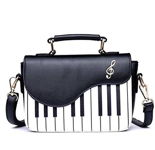Skyseen Klaviermusik Musiknoten PU-Leder Schultertasche Geldbörse Umhängetasche Handtasche für Frauen Mädchen