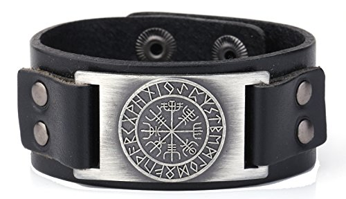 Norse Viking Vegvisir Pattern'Not Lost in self' Meaning 24 Amulet Runes Leather Bracelet (Antique Silver,Black)