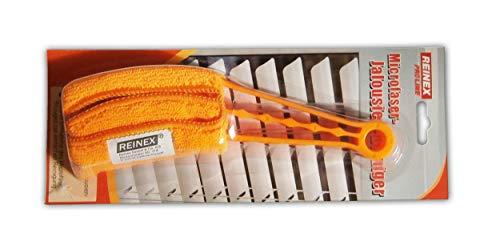 Reinex Microfaser JALOUSIEN-Reiniger Rolladenputzer Jalousienreiniger Lamellenreiniger Lamellen Aufsatz Bürste waschbar (Orange)