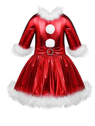 Agoky Kids Girls Christmas Dance Costume Shiny Glossy Metallic Tutu Skirt Jazz Modern Dance Ice Skating Dress Up Red 12