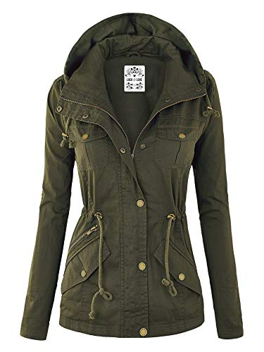 Lock and Love WJC643 Womens Pop of Color Parka Jacket XL Olive