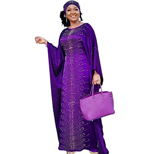 HD Long African Dresses for Women Beading Rhinestone Kaftan Maxi Dress Purple One Size Fit All