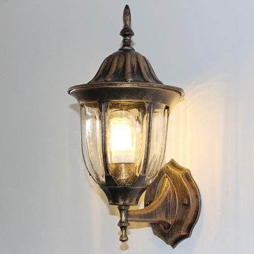 Lámpara de pared IP44 impermeable para exteriores Tradición Lámpara de pared de aluminio antigua para montar en la pared Iluminación E27 para pasillo, jardín, balcón, vidrio transparente, forma de lá