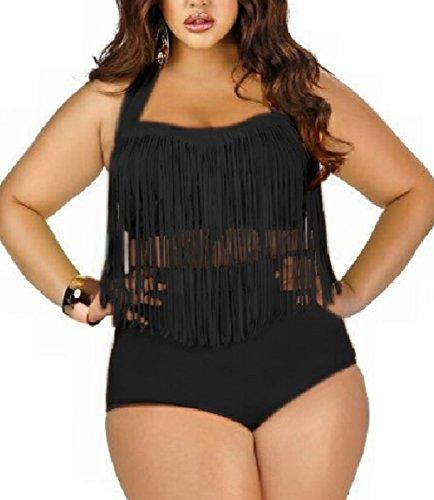 Butterme Damen Retro hohe Taillen Troddel Franse Zweiteiler Bikini Badebekleidung Plus Size (Schwarz,Größe XXL)